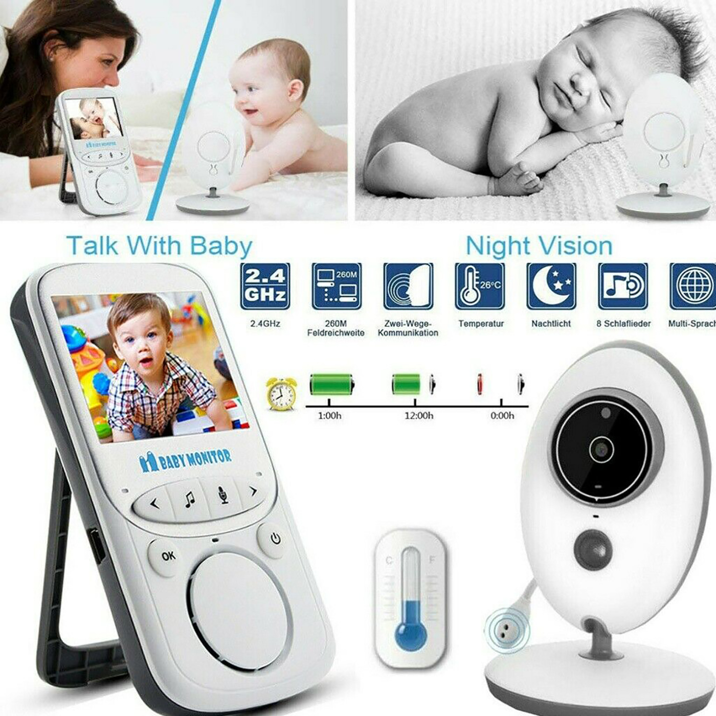 Digital Wireless Babyphone Mit Kamera Video Monitor Nachtsicht 2.4GHz Babypflege