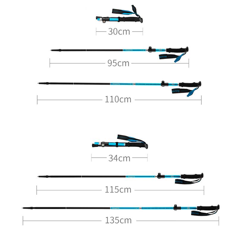 Naturehike Folding Trekking Poles Walking Hiking Sticks 5 Section Anti-Shock UK