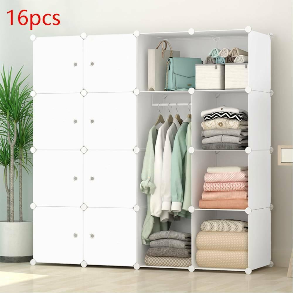 16 Cube Modular DIY Plastic Wardrobe Cupboard Cabinet Organizer Storage Shelves