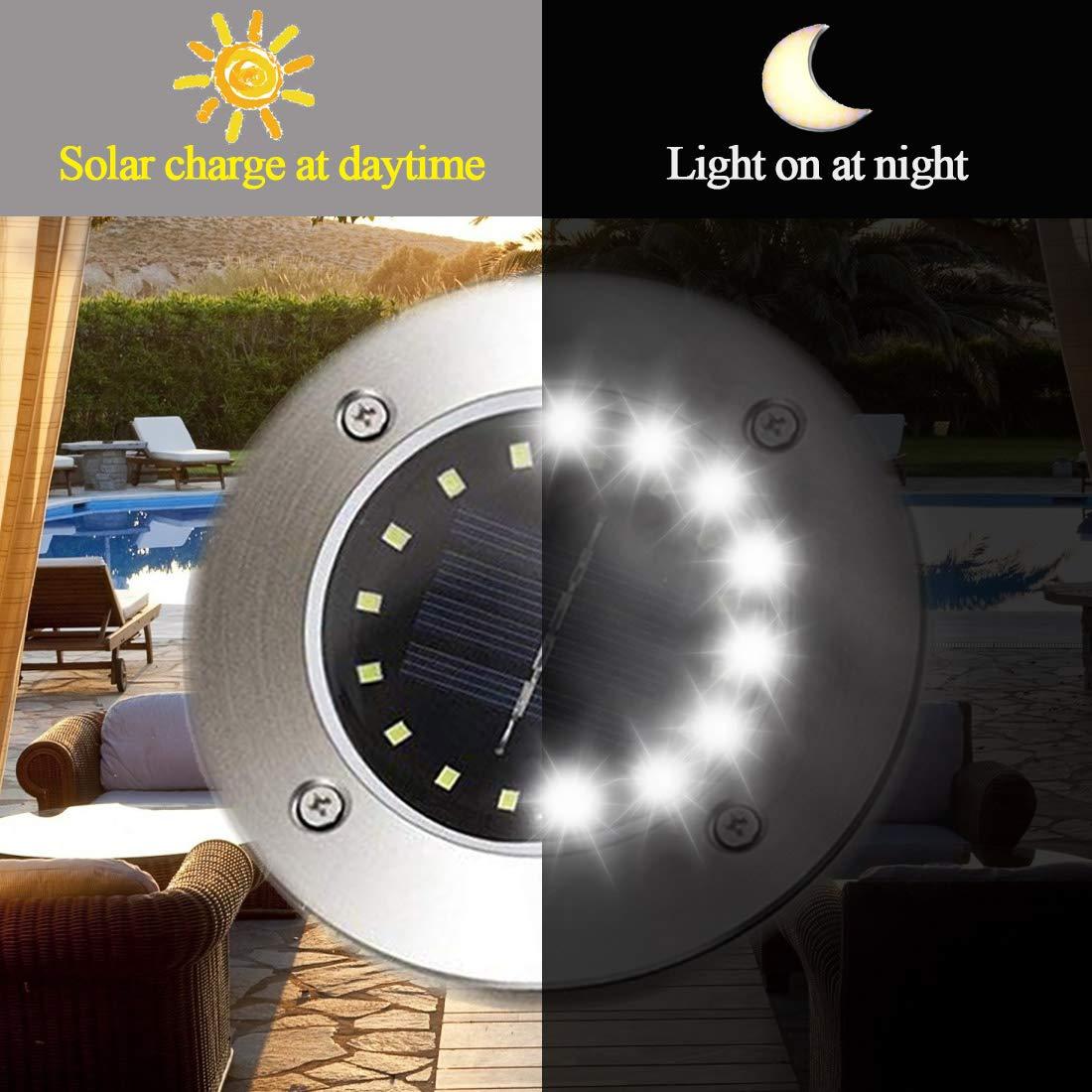 16LED Solarlampe Bodenstrahler Gartenlicht Leuchte Bodeneinbau Außen-Beleuchtung