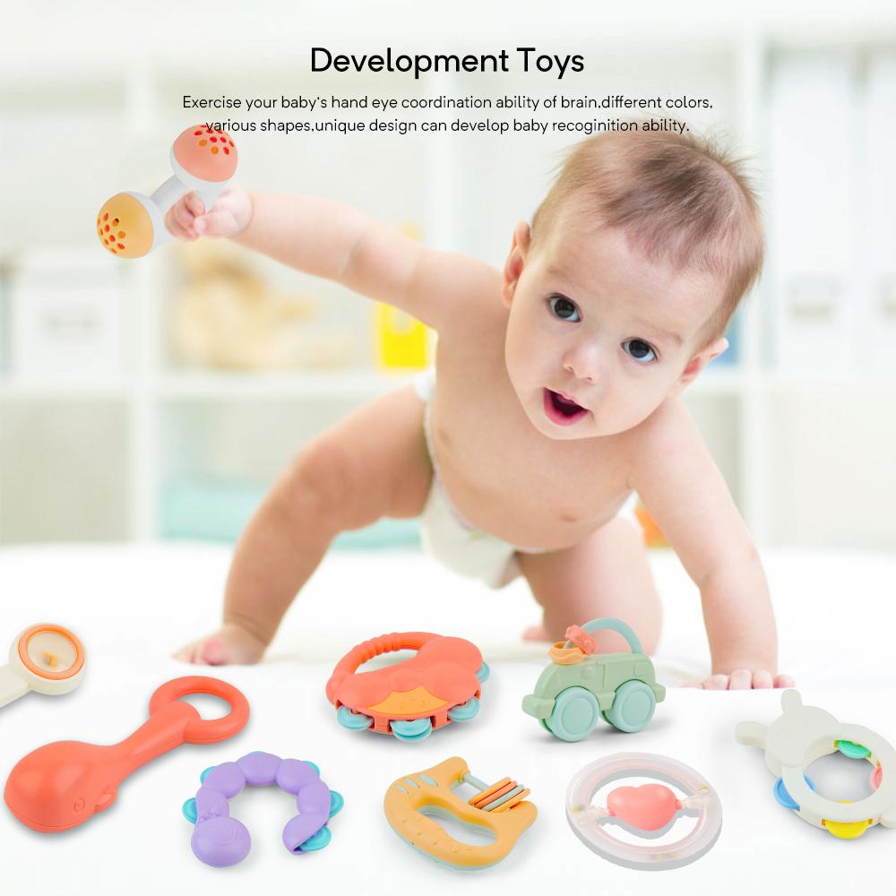 10 Stück Babys Spielzeug Motorik Rasseln Greiflinge Rassel Kinderbett Babyrassel