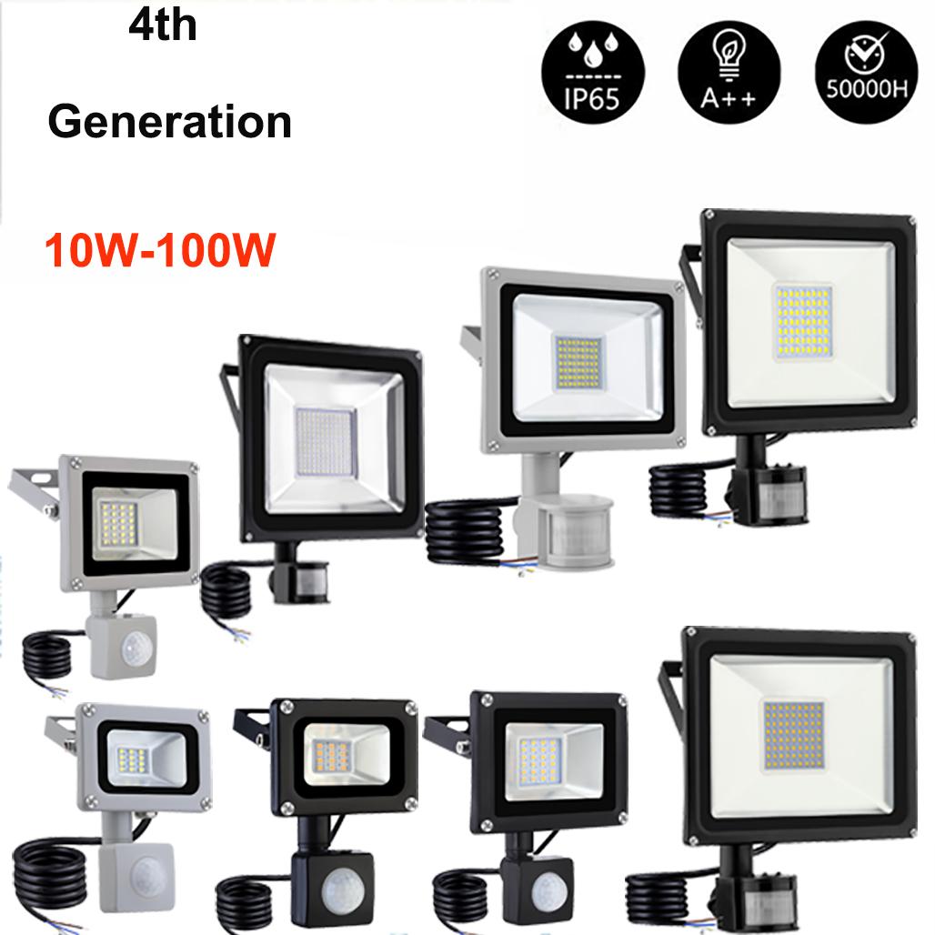 LED Floodlight 10//20//30//50W PIR Sensor Motion Security Flood Light Warm Cool PIR