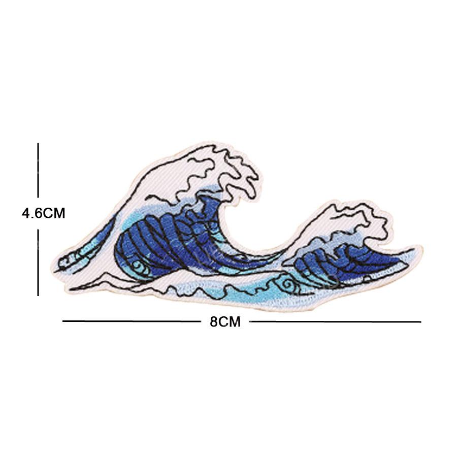 Ozean Welle Sonne Art Gestickt Bügeln Aufnäher Meer Applique Badge Nähen Zubehör