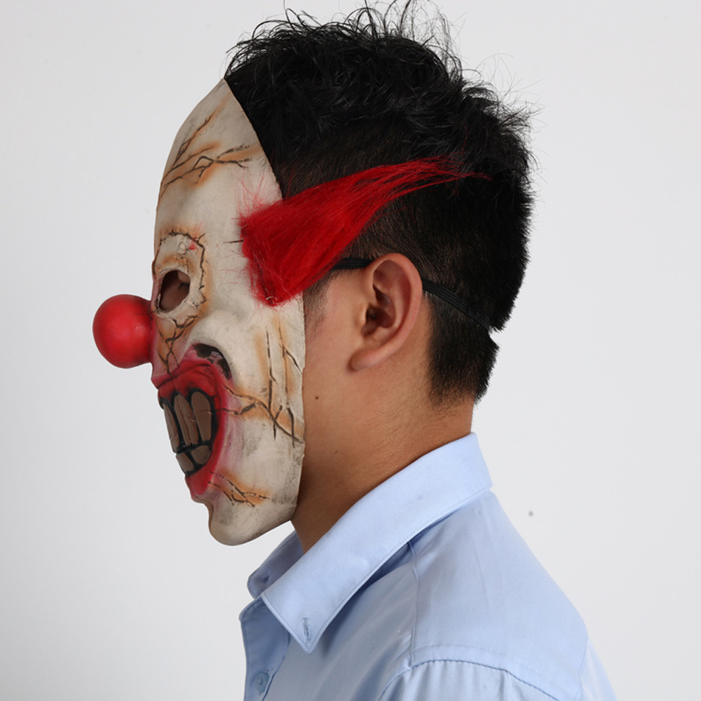 Adult Men Halloween Latex Bloody Mask Zombie Clown Horror Scary Costume Cosplay