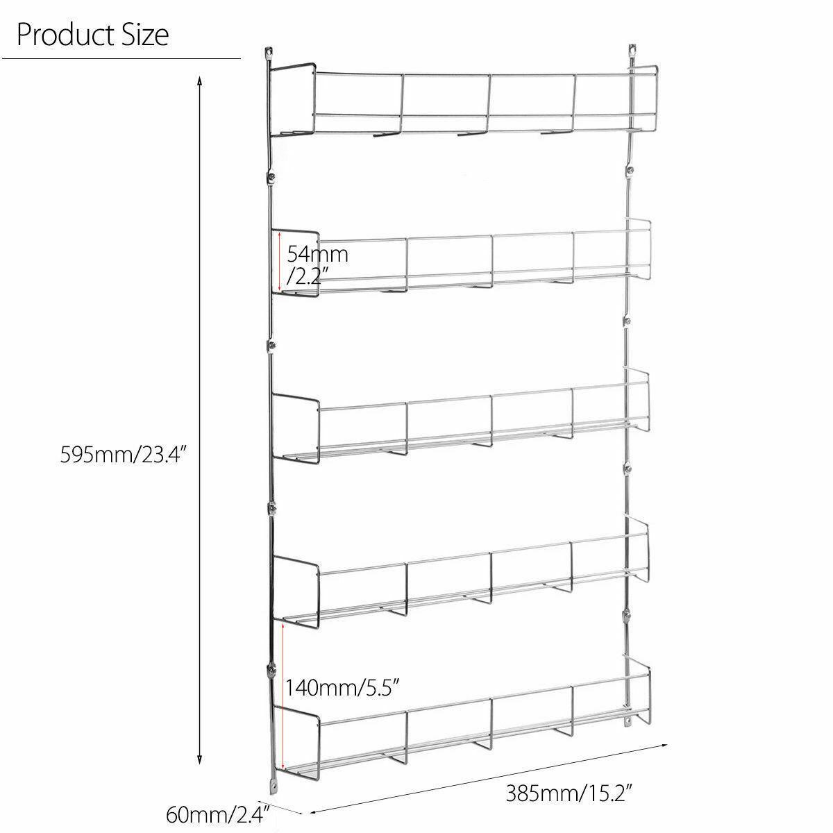 UK Spice Herb Jar Rack Holder For Kitchen Door Cupboard Storage Wall 4 5 6 Tier