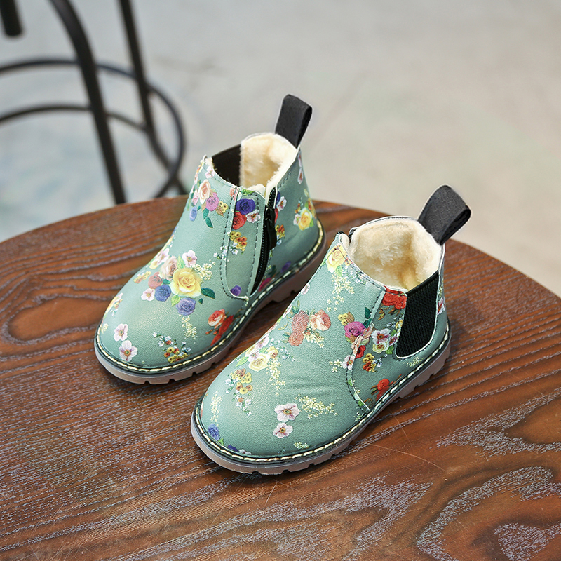 UK Kids Ankle Boots Boys Girls Martin Shoes Winter Warm Lace Up Fur Lined Shoes