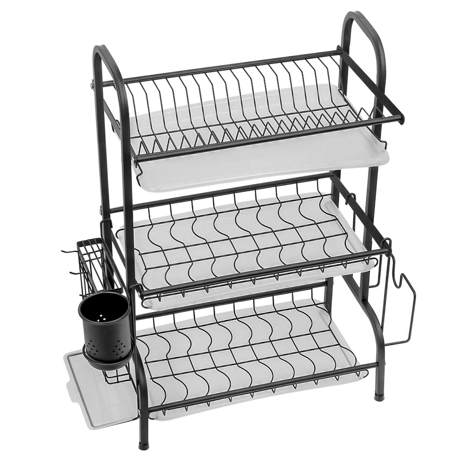 2-3 Tier Dish Drainer Cutlery Rack Bowl Plate Draining Cup Holder with Drip Tray