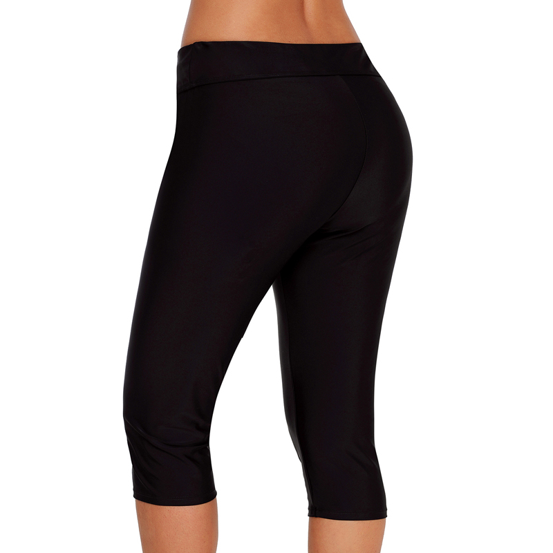 Women Long Board Shorts High Waist Swimsuit Leggings Swim Pants Tankini Shorts
