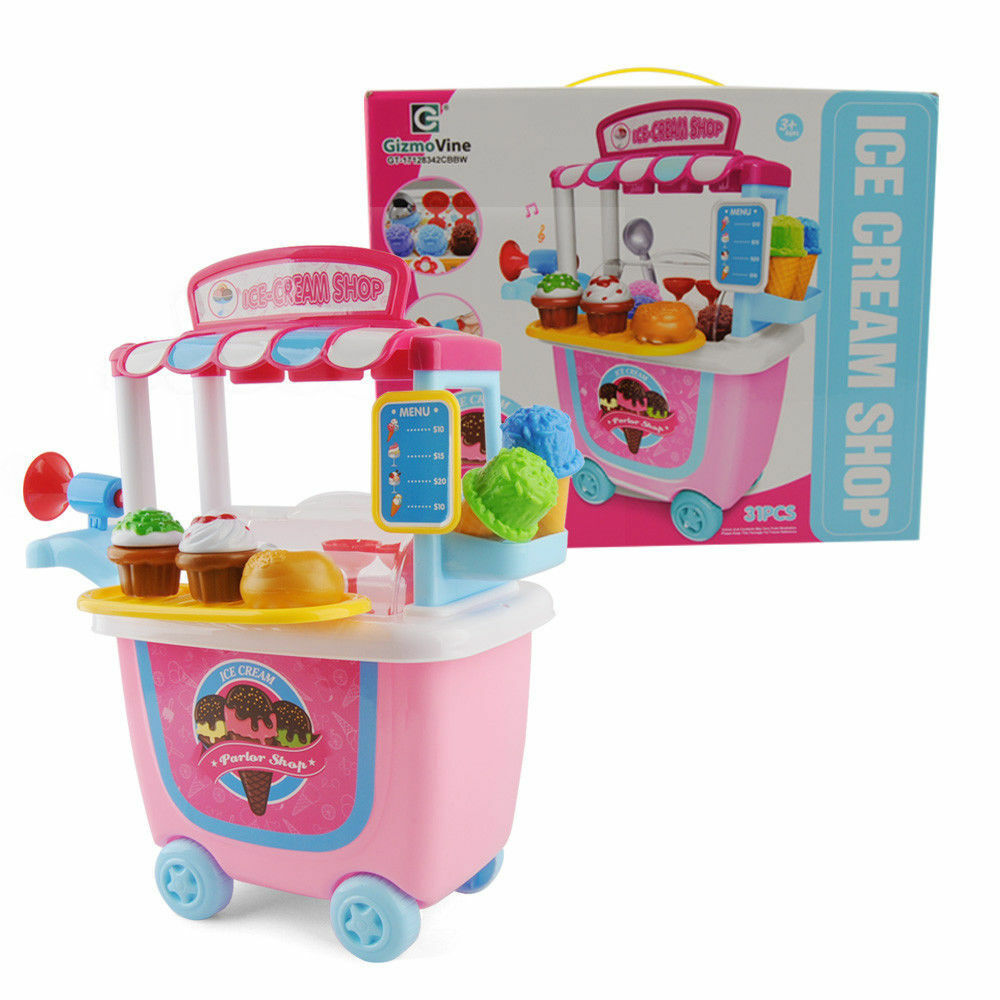 Ice Cream Cart Shop Toy Pretend Play Set with Horn Kids Fun Toy Food Set BEST UK