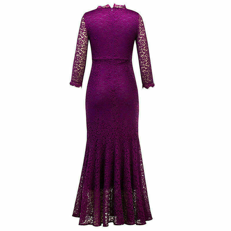 UK Women Bodycon Dress Lace Formal Wedding Fishtail V Neck Evening Ball Gown