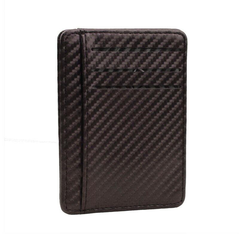 Men Carbon Fiber Credit Card Money Holder PU Leather Money Clip Slim Wallet Case