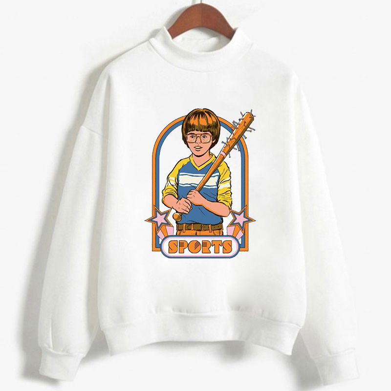 Dame Sweatshirt Langarm Shirt Mädchen Pulli Pullover Weiß Comic Printed Freizeit