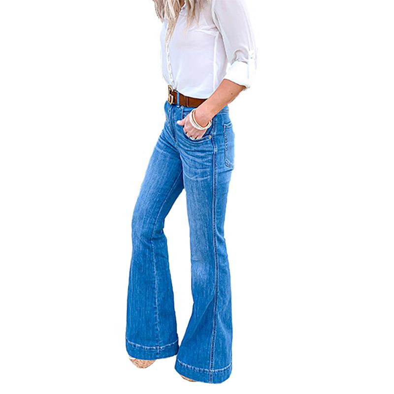 Royaume-Uni Femme Évasée Street Jeans Femmes BOOTCUT Wide Leg Denim Pantalon Pantalon Slim