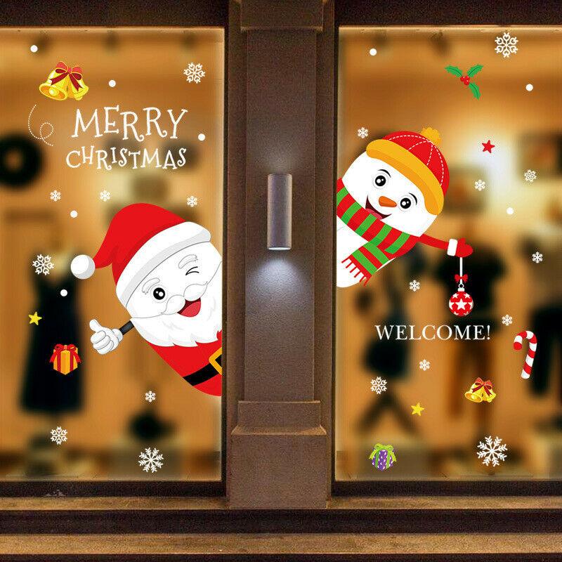 Christmas Snowman Snowflake Santa Wall Decal PVC Window Glass Sticker Art Decor