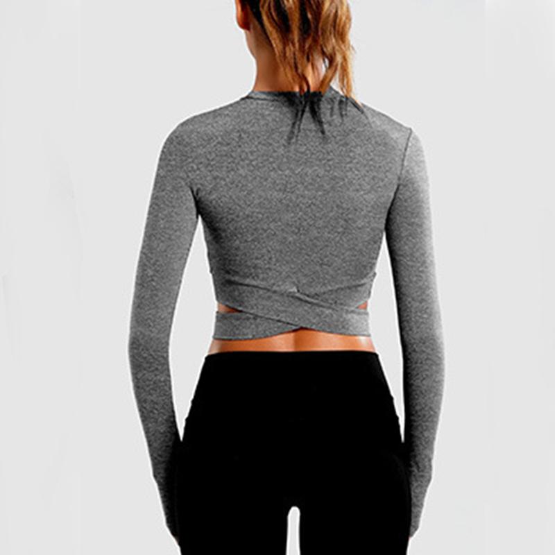 Womens Long Sleeve Zip Fitness Sport Crop Tops Ladies Stretch Workout T Shirt UK