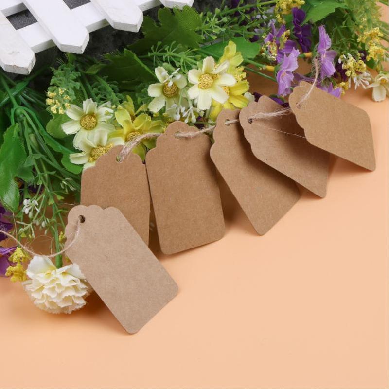 UK 50//100pcs Kraft Paper Gift Tags Wedding Scallop Label Blank Luggage+Strings