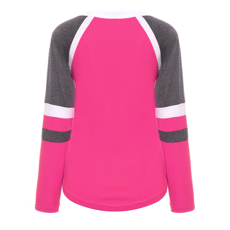 Da Donna Patchwork Manica Lunga T-Shirt Top Donna Scollo a V Camicetta Lacci Sport