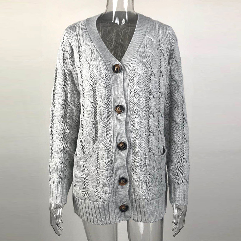 Womens Ladies Chunky Cable Knit Cardigan Button Long Sleeves Grandad Coat Tops