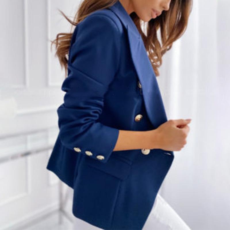 Femmes travail OL Bouton Blazer Slim Veste à manches longues Slim Outwear costume