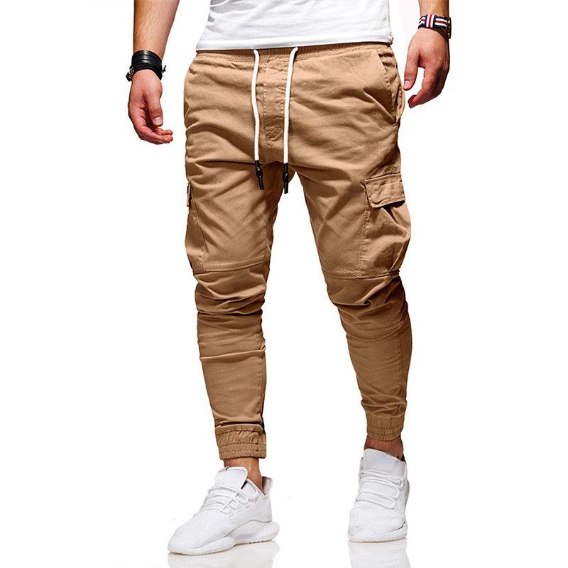 Mens Slim Fit Sports Long Trousers Men Casual Pencil Skinny Jogger Cargo Pants