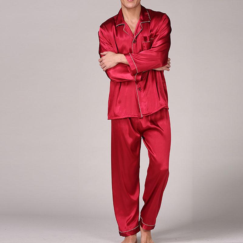 Mens Silk Satin Pajamas Set Sleepwear Tops Long Sleeve Pyjamas Soft Nightwear