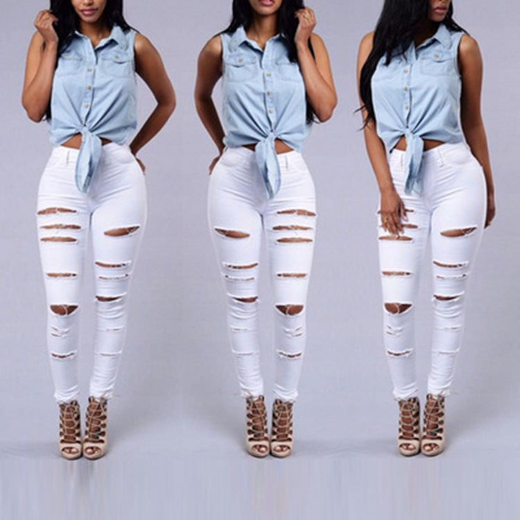 WOMENS LADIES GIRLS HIGH WAISTED EXTREME RIPPED SLIM SKINNY JEANS SIZE 8-16