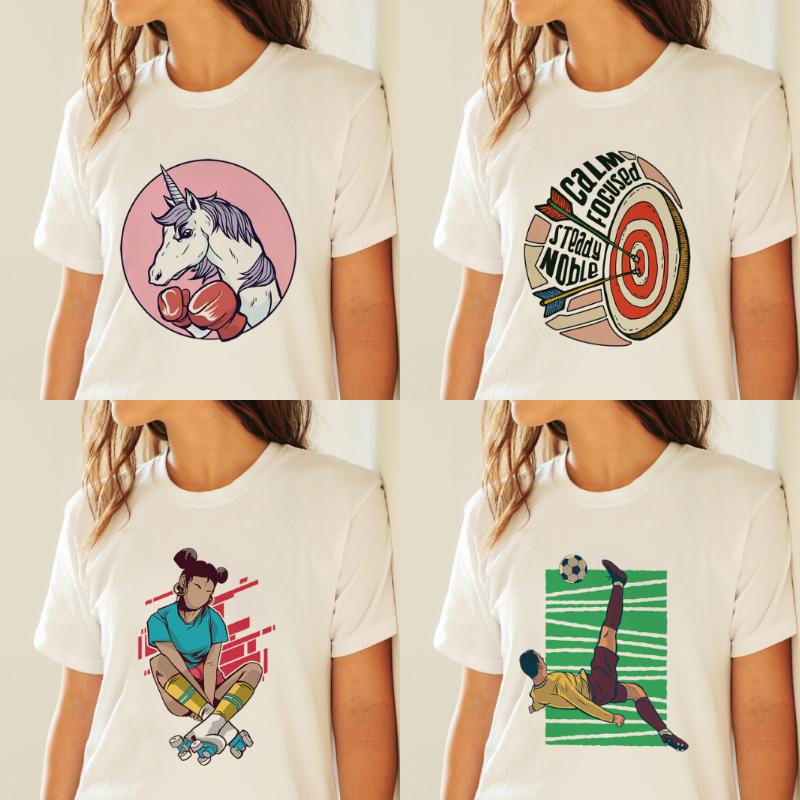 Sommer Shirts Damen T-Shirt Basic Kurzarm Shirt Cartoon Sport Stoffdruck Modern