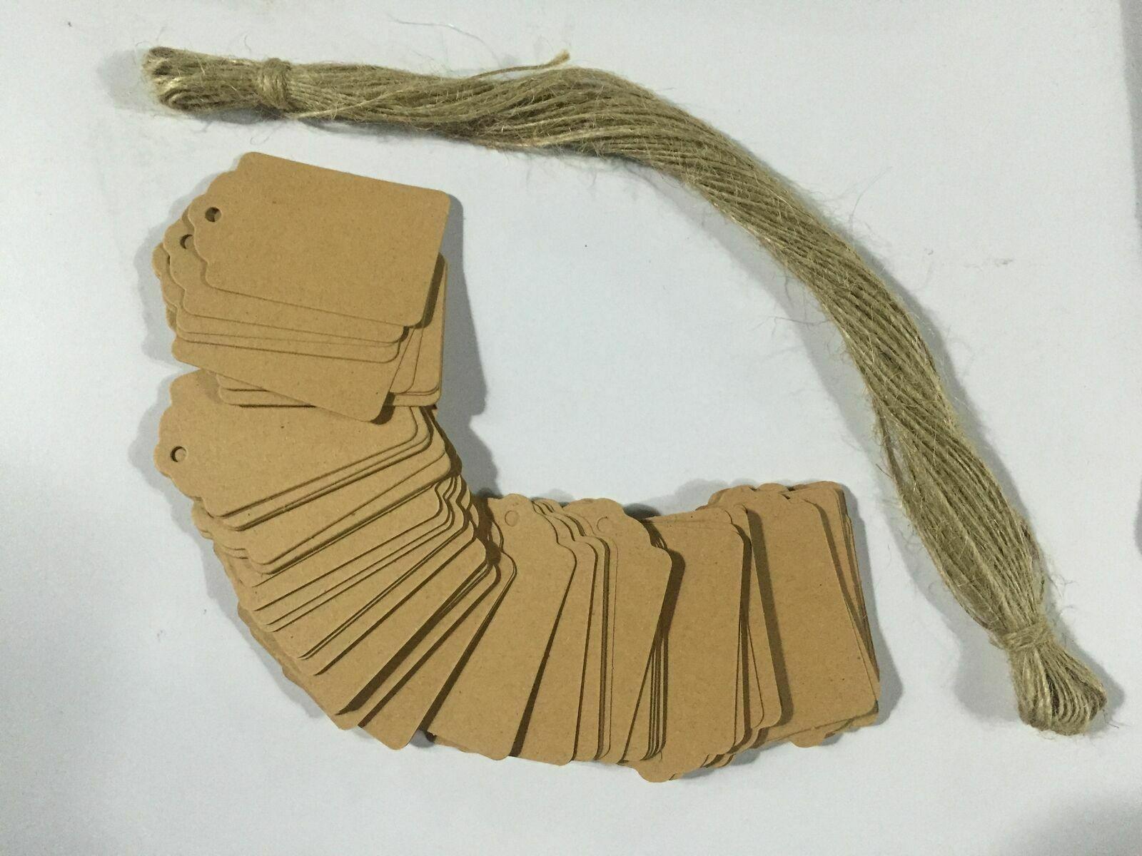 90x Packpapier Zettel Schild Tag Dekoschild Kleidung Etiketten DIY Handarbeit