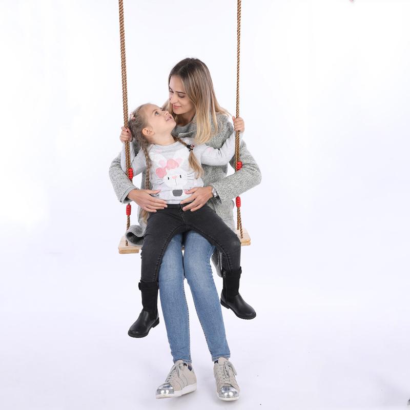 BABY KIDS CHILDREN INDOOR OUTDOOR GARDEN WOODEN FLAT SWING SEAT CHAIR WITH ROPE