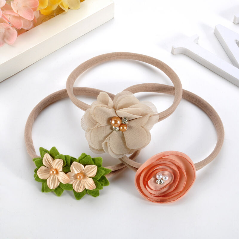 Baby Girl Floral Nylon Headband Elastic Hair Band Bows Flower Wraps For Newborn