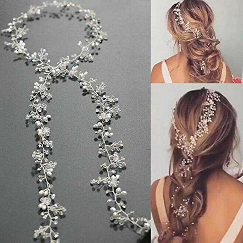 150CM Pearls Wedding Hair Vine Crystal Bridal Accessories Diamante Headpiece UK