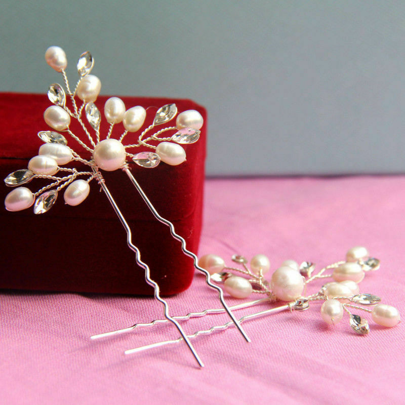 1-10pc Bridal Hair Pins Rhinestone Pearl Diamante Flower Slide Clip Grip Wedding