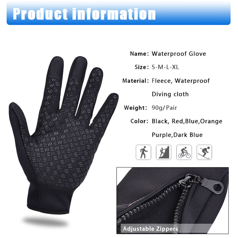 Waterproof Thermal Gloves for Winter Outdoor Sports Cycling Skiing Screen Touch