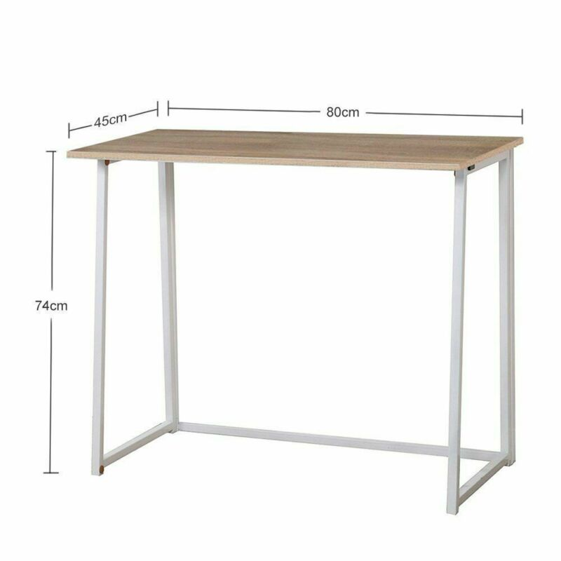 Folding Computer Desk Foldable Compact PC Table Home Office Study Wooden /& Steel