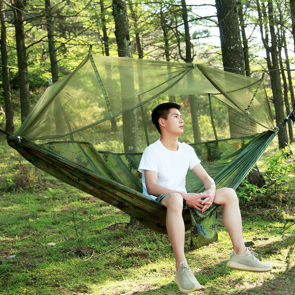 Leichte Outdoor Camping Hängematte mit Moskitonetz /& Zeltunterstand für 2 Person