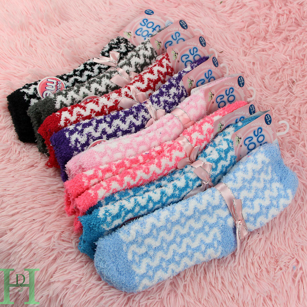 4 Pairs Soft /& Cosy Feather Fluffy Ladies Lounge Extra Warm Bed Socks Girls 4-8