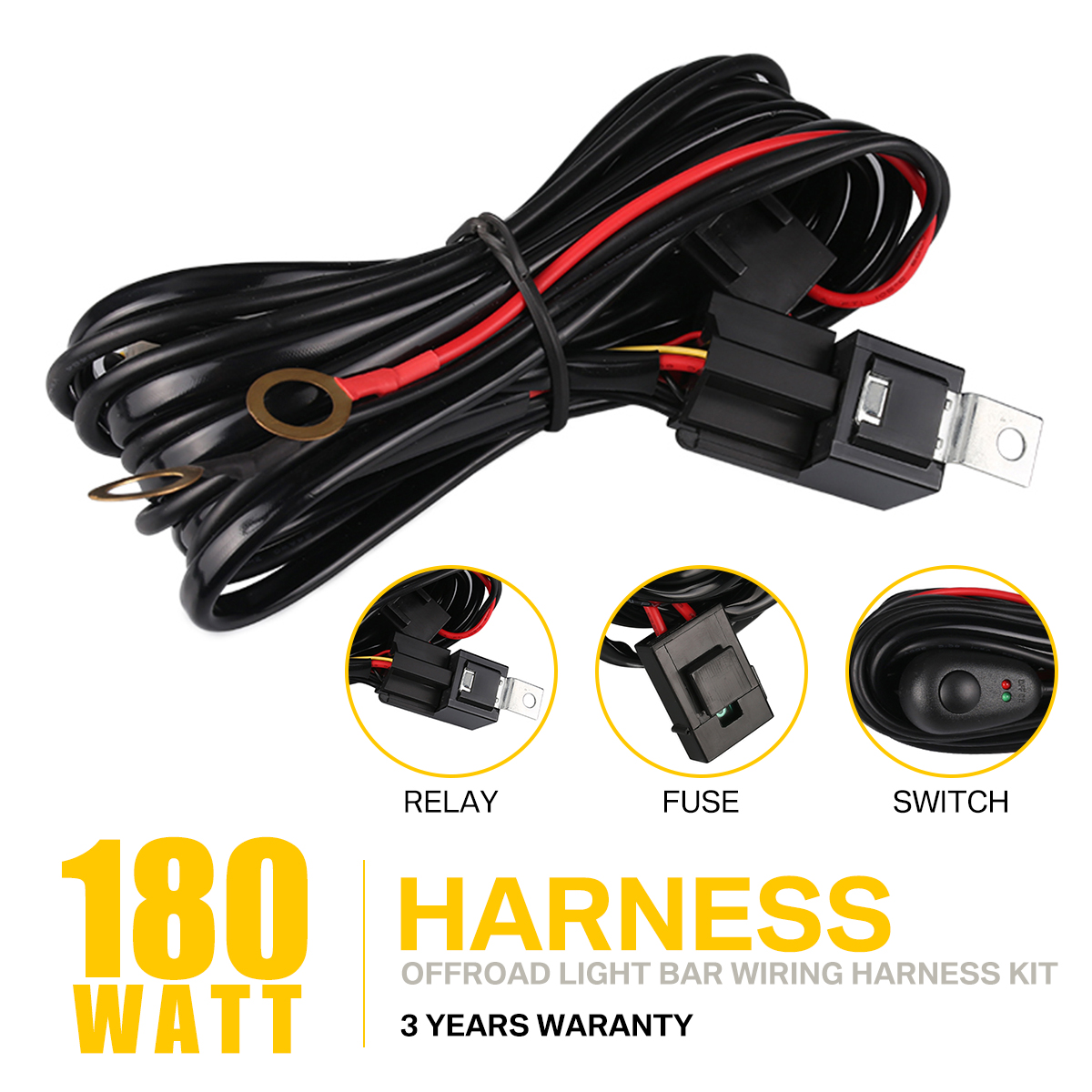 Led Hid Spot Work Driving Light Bar Wiring Loom Harness 12v 40a Relay