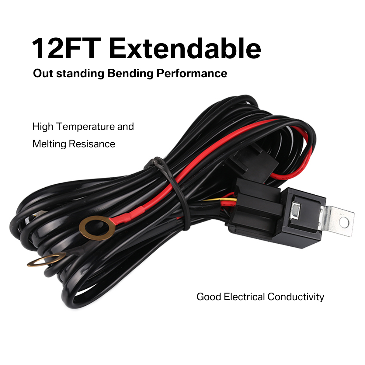 Led Hid Wiring Loom Harness Spot Work Driving Light Bar 12v 40a Relay Switch Kit For Connect 2