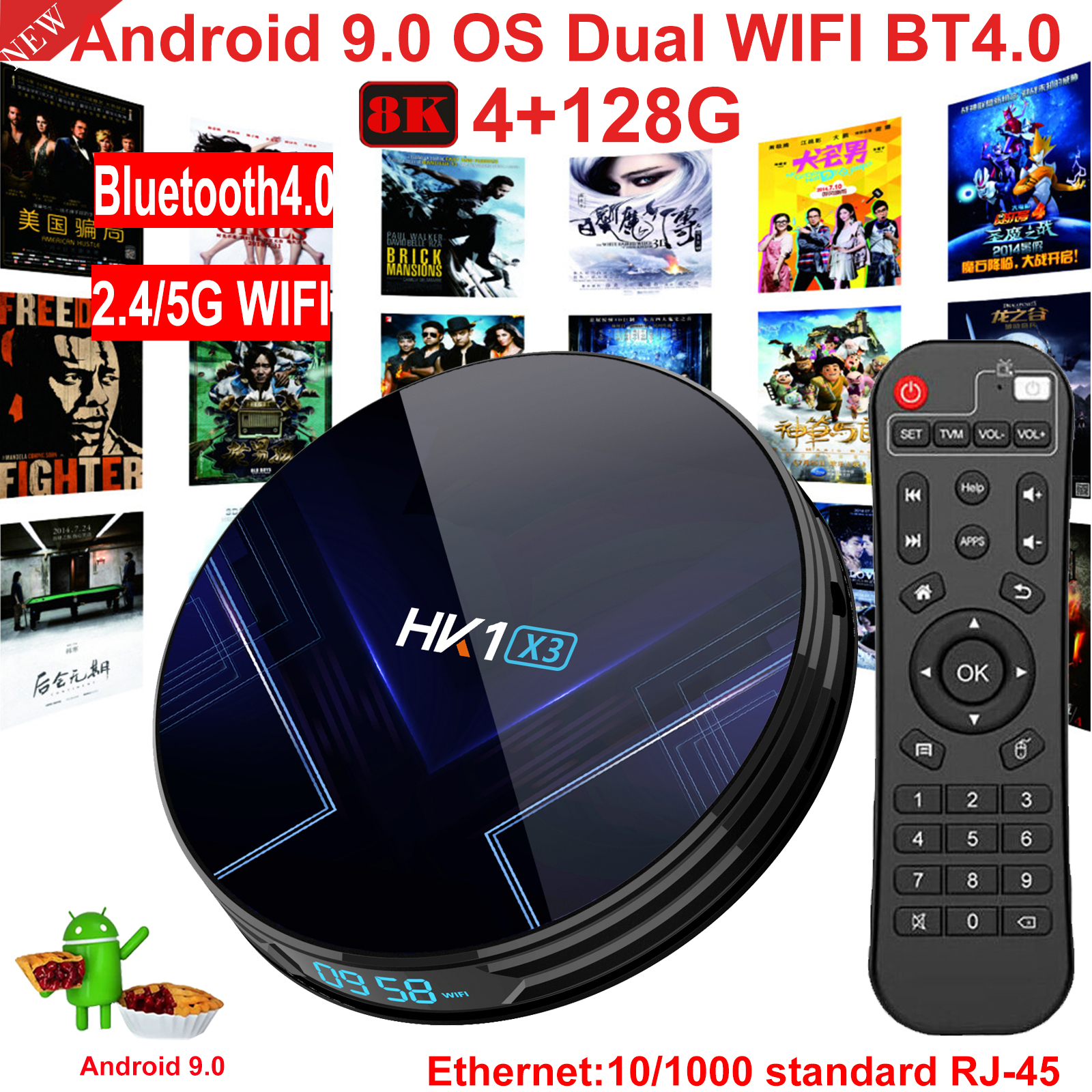 HK1 X3 8K 4+128G Android 9.0 5G WIFI BT Smart TV BOX Amlogic HDMI Media Player