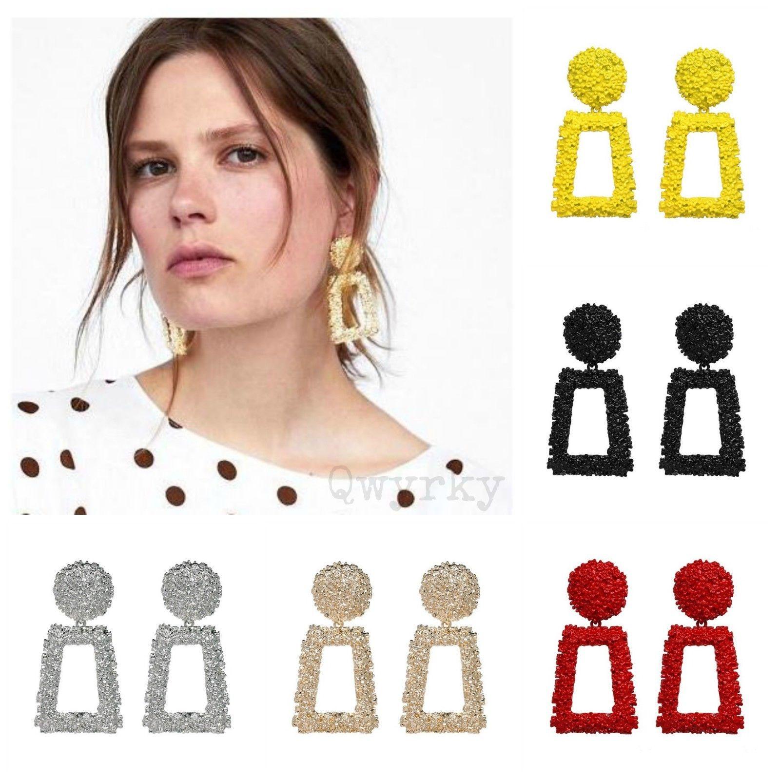 Trendy Punk Jewelry Metal Statement Dangle Drop Earrings Big Gold Geometric NEW 2