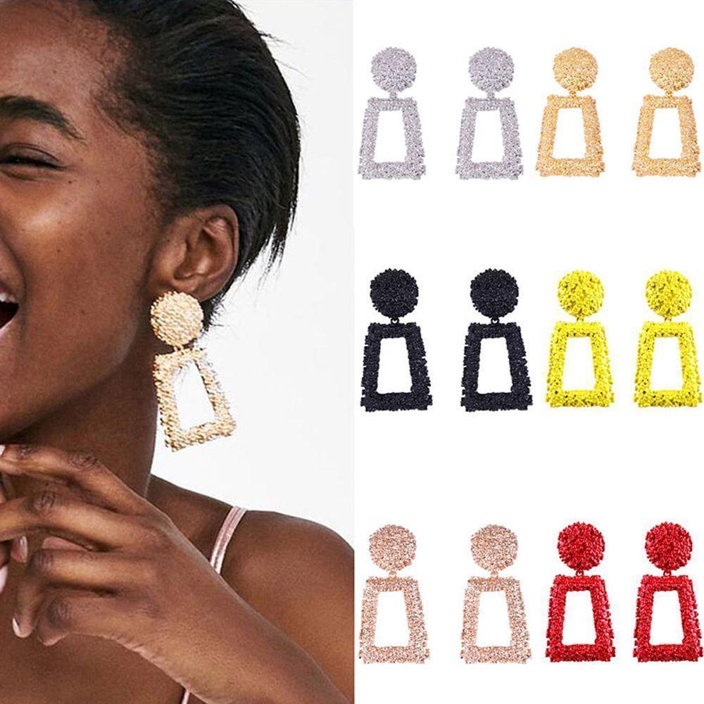Trendy Punk Jewelry Metal Statement Dangle Drop Earrings Big Gold Geometric NEW 3