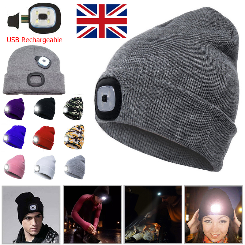 LED Beanie Hat With 5 LED Torch Light Camping Cycling Outdoors Gift One Size uk