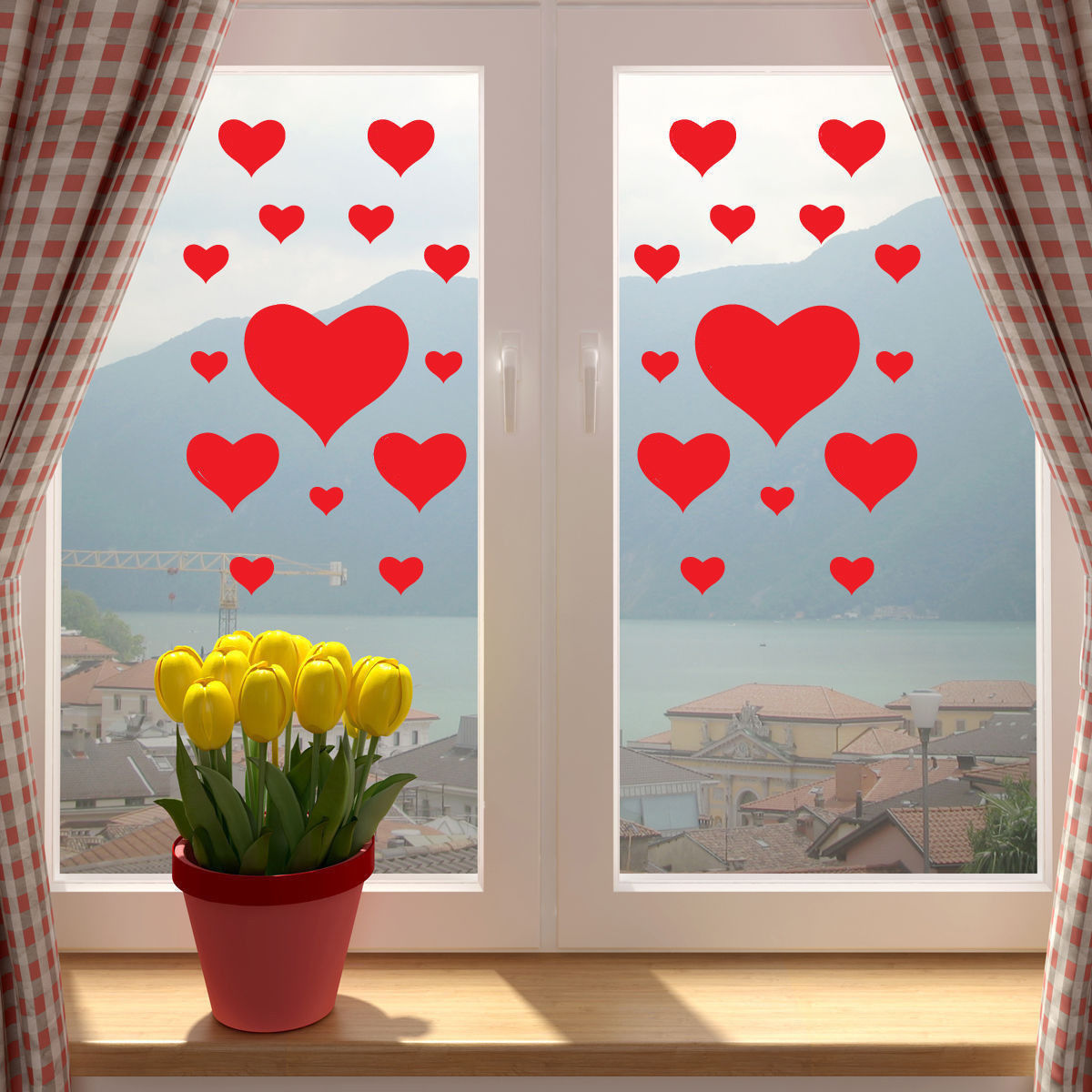 Valentines Day Doves in Love Heart Wall Window Sticker Decal Romantic Decor
