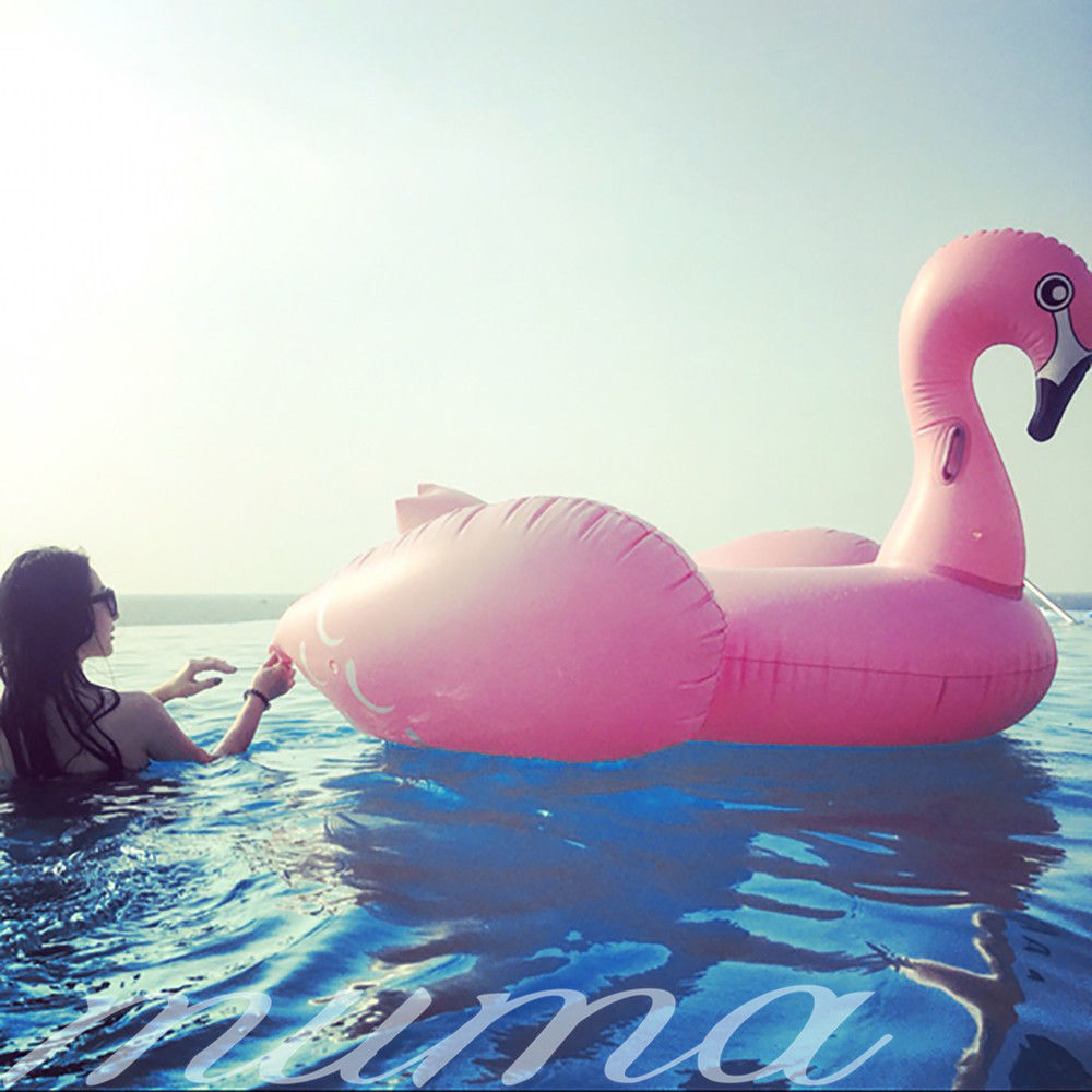 Pink Flamingo Float Fun Summer Swimming Pool Inflatable Swim Ring Giant Rideable