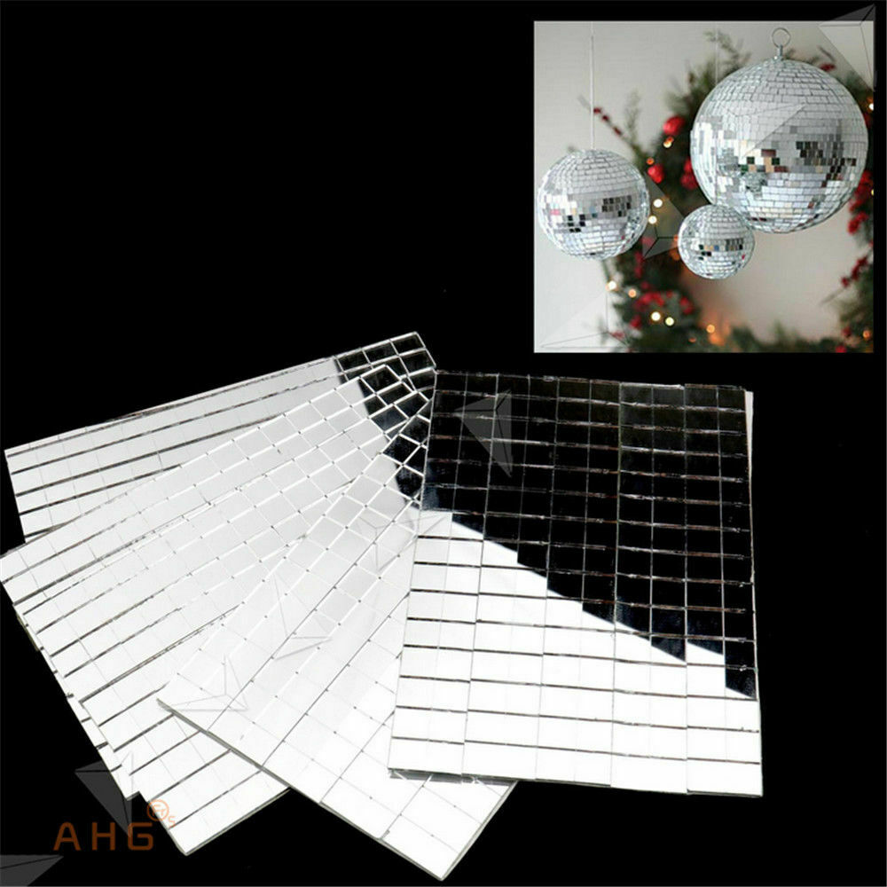 Home Decoration - 150pcs Tiles Set Self-Adhesive Mirror Tiling Silver DIY Home Decor Mosaic Mirror