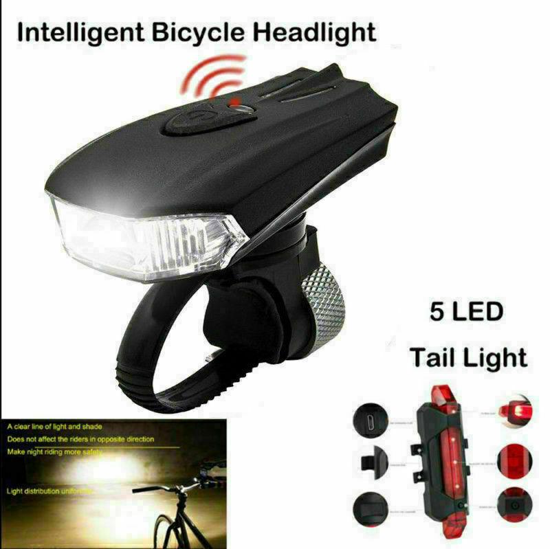 led fahrradlampe set usb akku radlicht fahrradlicht vorne mit 5 led hinten lampe ebay. Black Bedroom Furniture Sets. Home Design Ideas