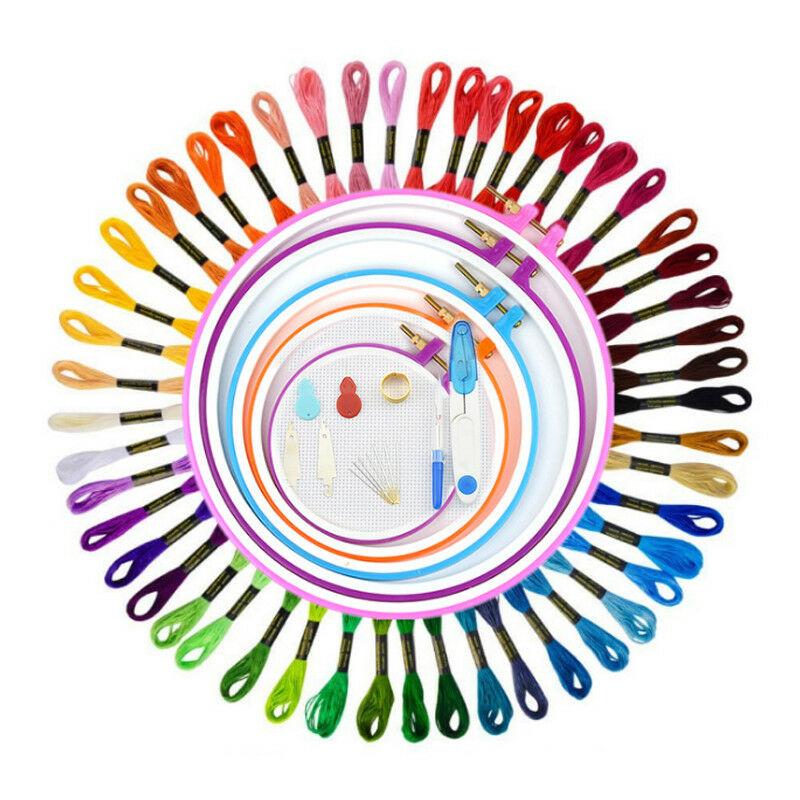 50 Farbe Embroidery Stickgarn Strickrahmen Kreuzstich Striken Wkz.Access Set DE