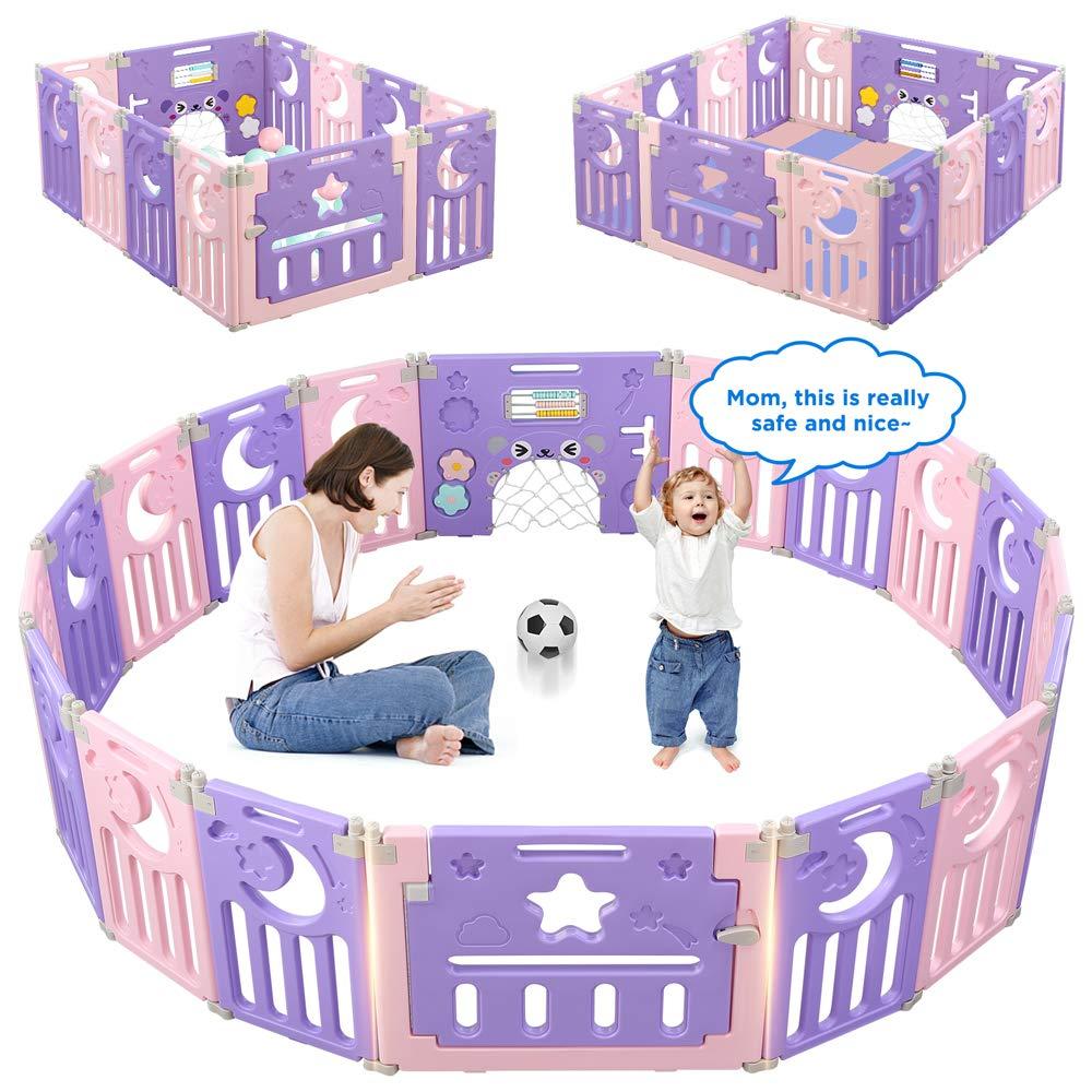 Parc-Bebe-Barriere-Securite-Plastique-Pilable-Enfant-Protection-Porte-Regable miniature 14