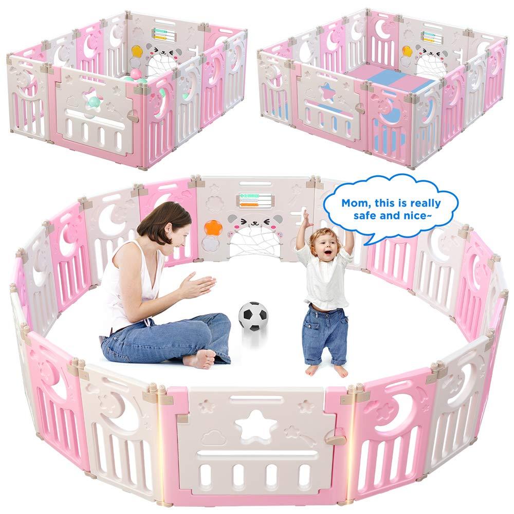 Parc-Bebe-Barriere-Securite-Plastique-Pilable-Enfant-Protection-Porte-Regable miniature 19