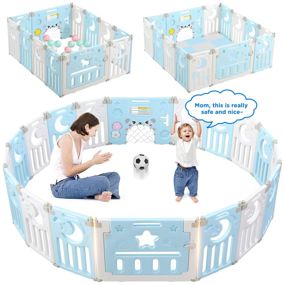 Parc-Bebe-Barriere-Securite-Plastique-Pilable-Enfant-Protection-Porte-Regable miniature 23